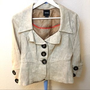 Xoxo 100% linen fitted jacket blouse M top
